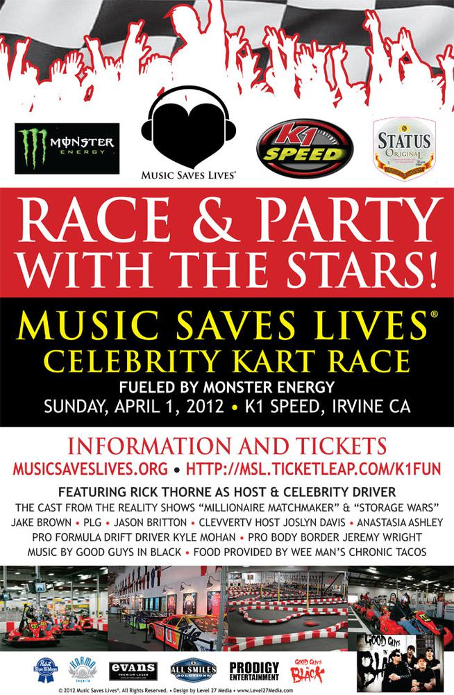 full Music Saves Lives Celebrity Kart Race